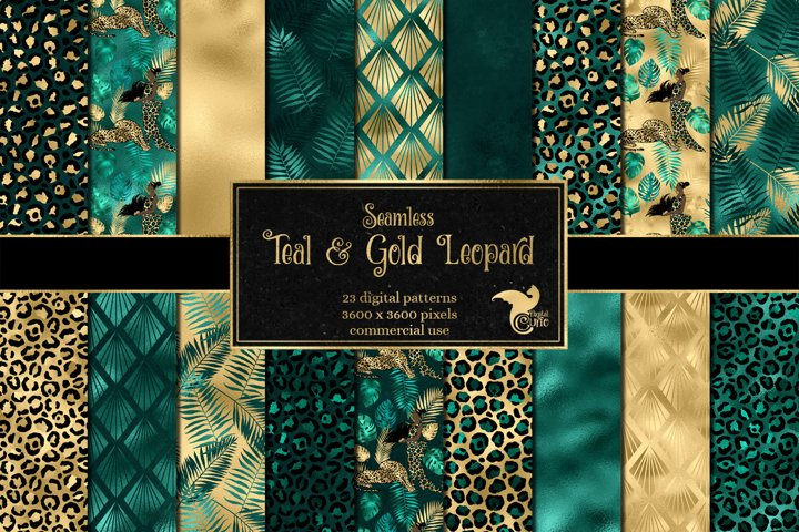 Teal and Gold Leopard Digital Paper