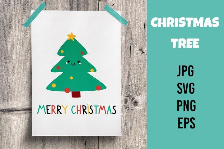 Cartoon Christmas tree. Greeting card. SVG/PNG/EPS/JPG