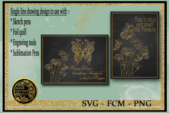 Butterfly Gardens - Single line for foil quill