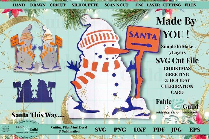 3D Santa Snowman Christmas Card Svg Multi Layered ornament