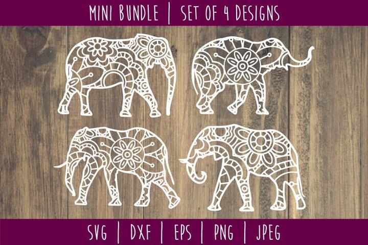 Elephant Mandala Zentangle Bundle Set of 4 - SVG