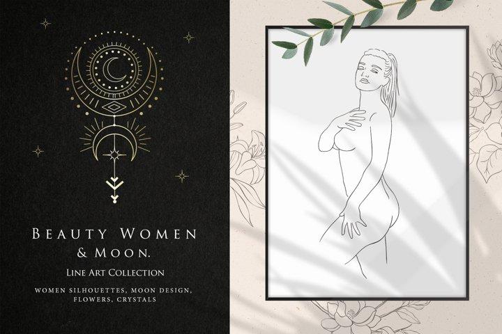 Beauty Women & Moon. Line Art.