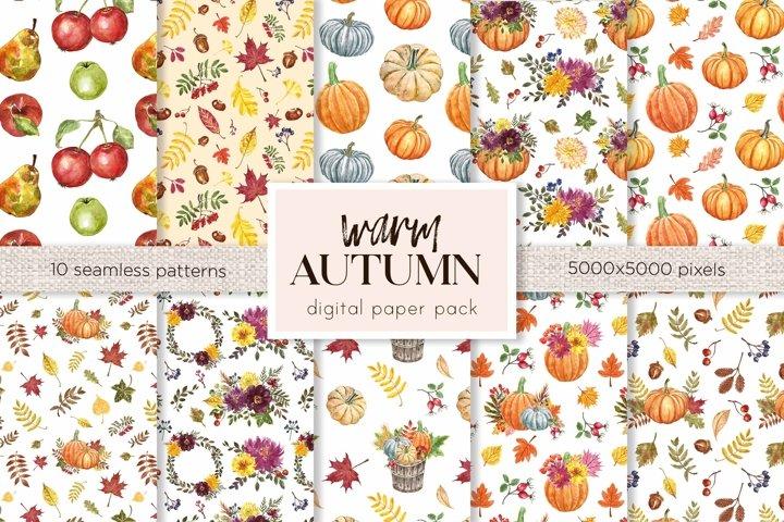Fall Digital Paper pack Pumpkin seamless patterns Watercolor