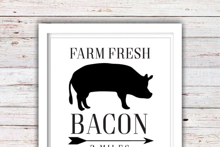 Farm Fresh Bacon SVG | Farm Fresh SVG | Farmhouse | High Quality Svg Eps Dxf Png Files | Cricut Files Silhouette Cameo | Instant Download