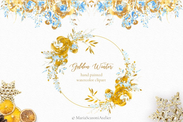 Golden Winter - Hand painted watercolor clipart