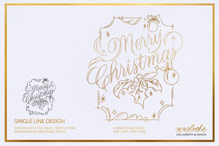 SVG Foil Quill Merry Christmas Single Line Design