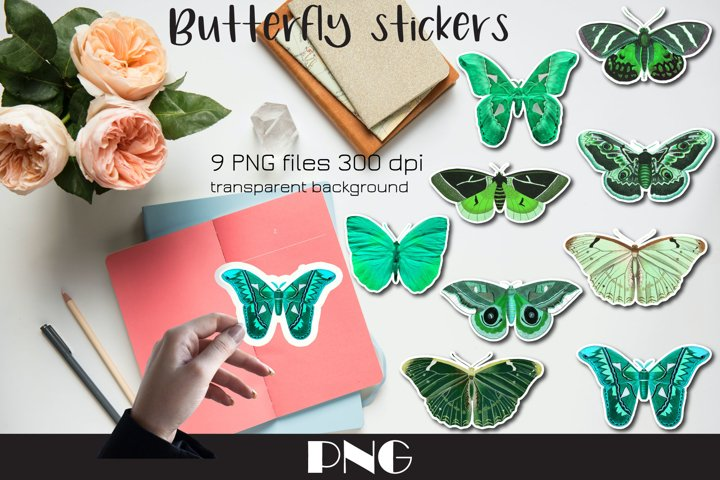 Green butterfly PNG, 9 Butterfly stickers