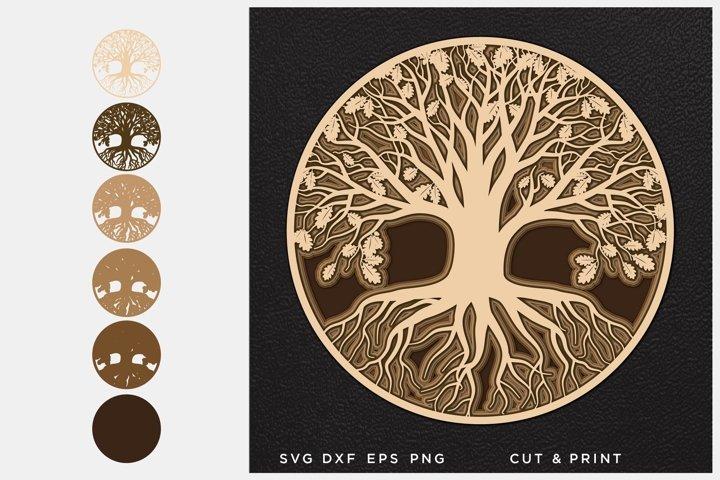 Tree of Life svg, Cut file Oak, Multilayer svg, Layered svg