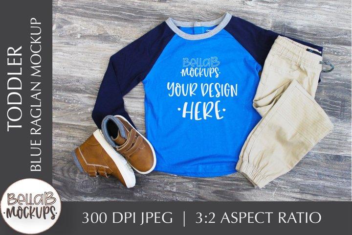 Toddler Shirt Mockup, Youth Boys Blue Raglan Shirt Mockup