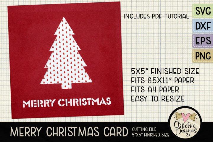 Merry Christmas Card SVG - Christmas Card Cutting File