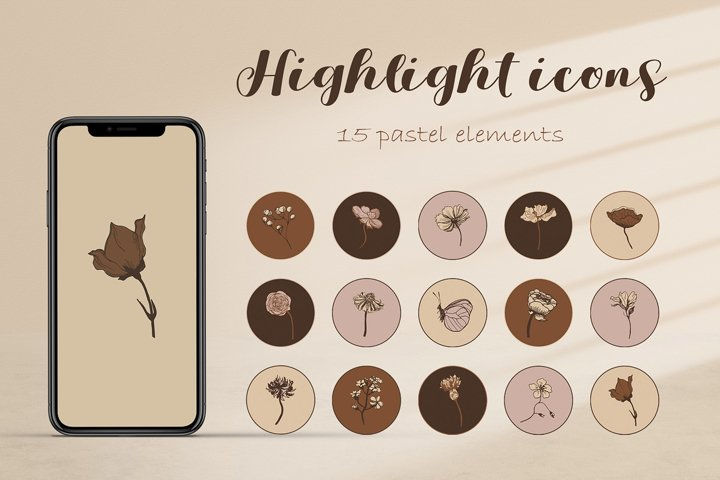 Instagram highlight botanical icon.15 covers to create story