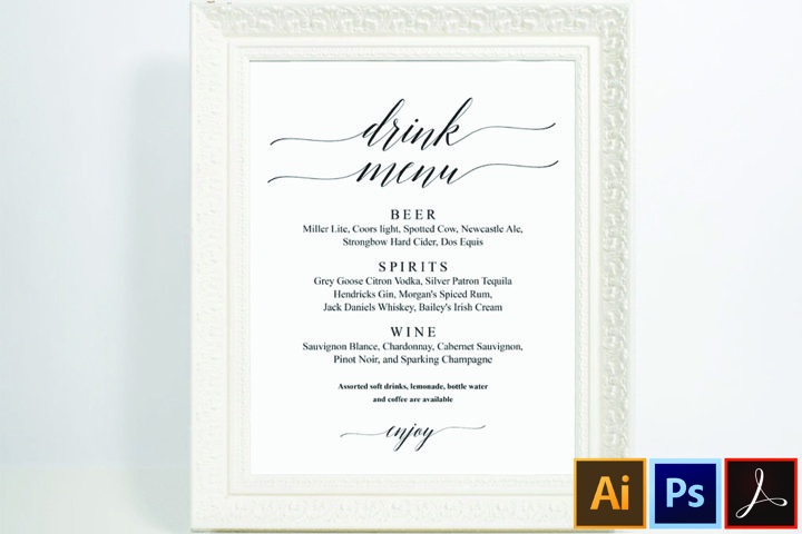 Signature Drink Sign Signature Drinks Printable Wedding