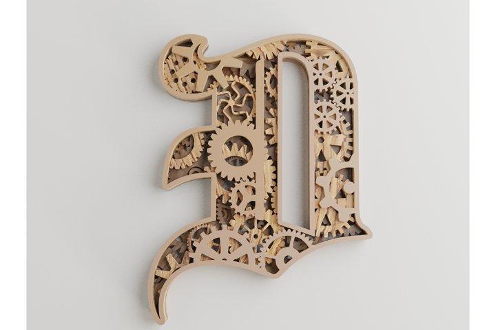 Layered Letter D - 5 layers - SteamPunk Alphabet - laser cut