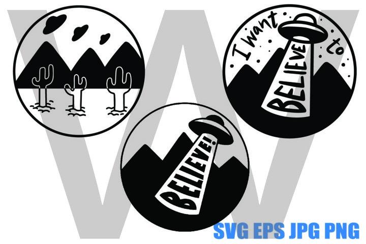UFO Abduction Set - SVG EPS JPG PNG