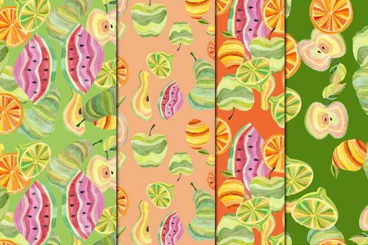wreath, border, seamless patterns with watercolor juicy frui