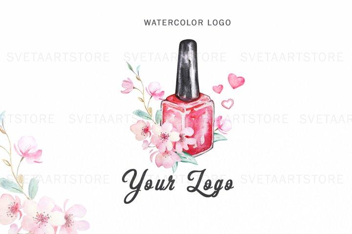 Premade Watercolor Logo, Nails Logo Design