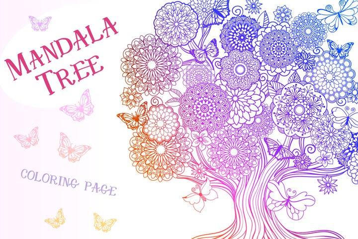 Mandala Tree Coloring Page