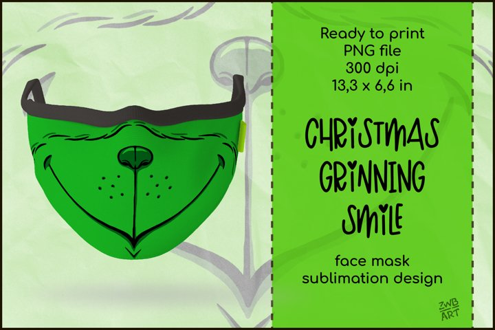 Christmas Face Mask Sublimation Design, Grinning Face Mask