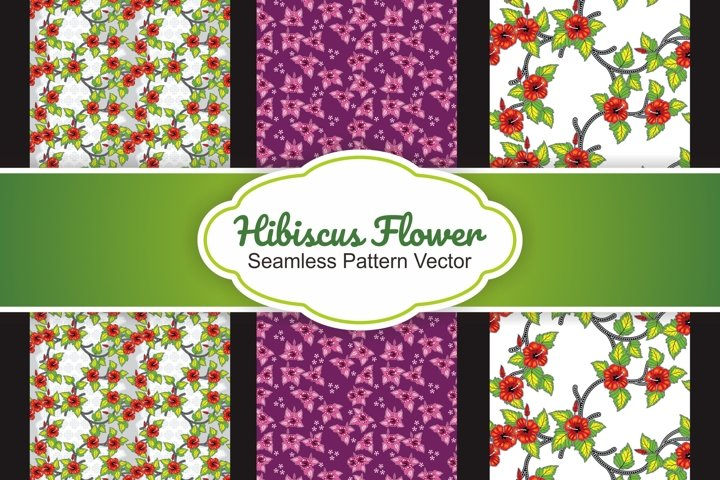 3 Collection Hibiscus flower seamless pattern vector