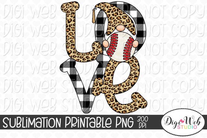 Love Baseball Gnome Sublimation Design - Sports