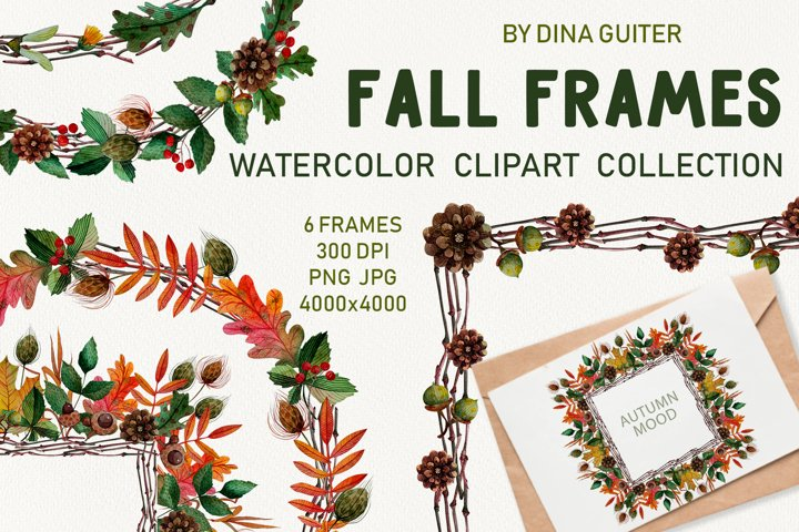 AUTUMN WATERCOLOR FRAMES AND WREATHS CLIPART. FALL MOOD.