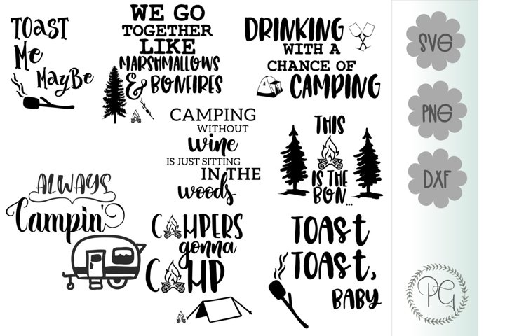 Camping Bundle SVG PNG DXF Eight Files Available
