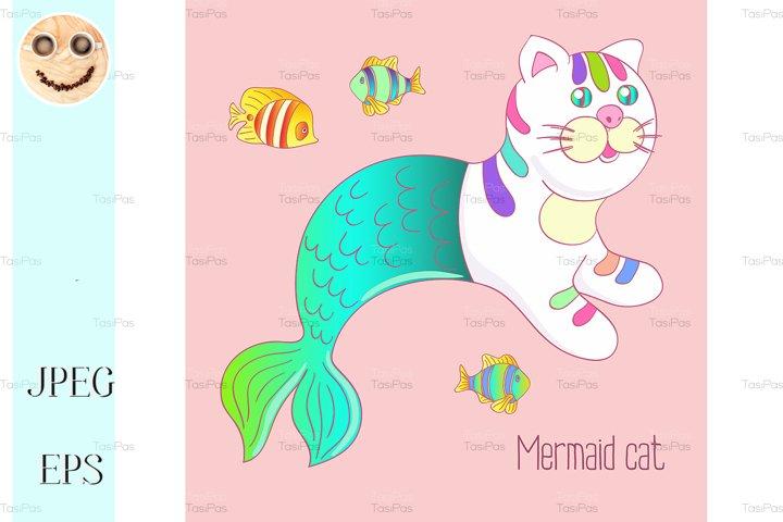 Cute mermaid cat purrmaid with green tail