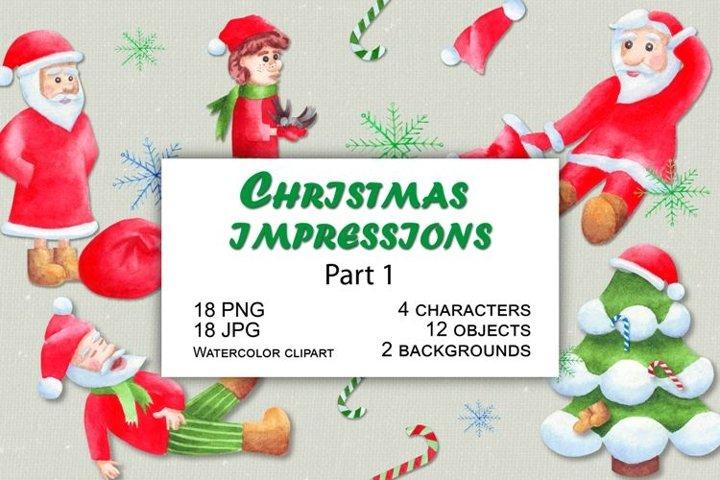Christmas gnomes and Santa. Part 1. Watercolor clipart set