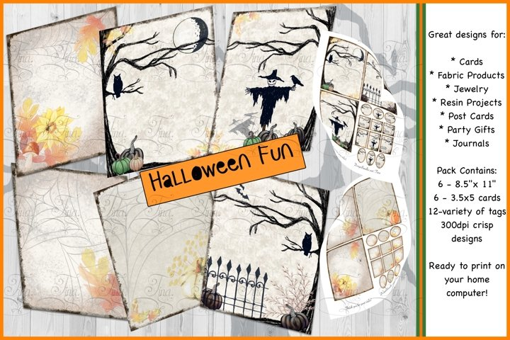 Halloween Fun Scarecrows Owls Crow Autumn Pumpkins Orange