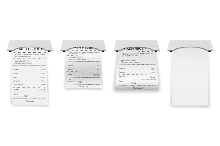 Realistic ATM bills. Paper printed bill or bank invoice