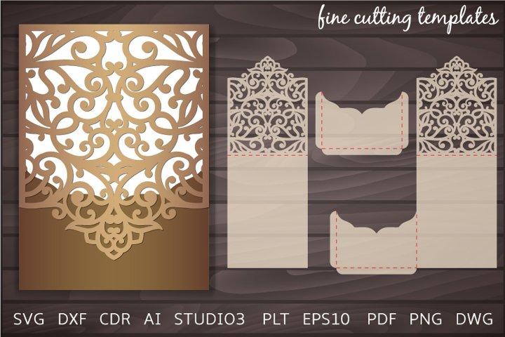 Laser cut Wedding Invitation 5x7 cuttung Envelope template