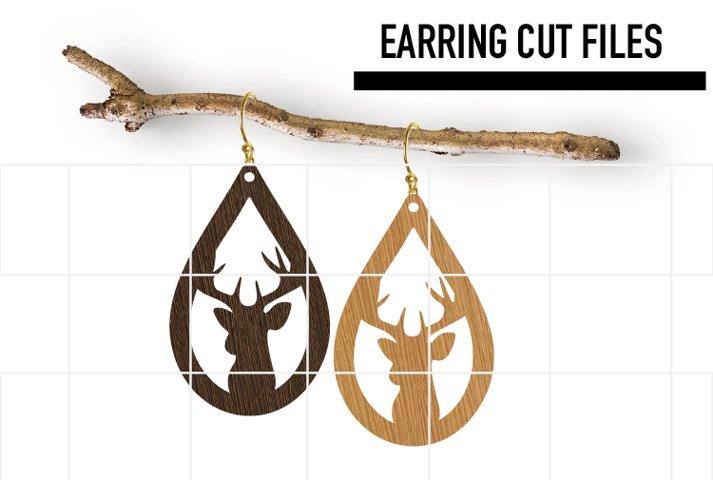 Christmas Deer Earrings Svg, Wood Earrings Template