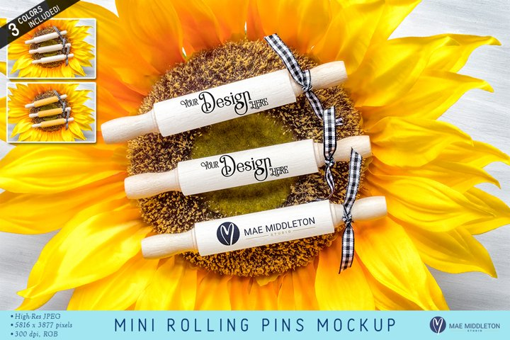 Mini Rolling Pins with ribbons | mockups | 3 styled photos
