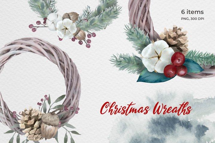 Watercolor Christmas Wreaths