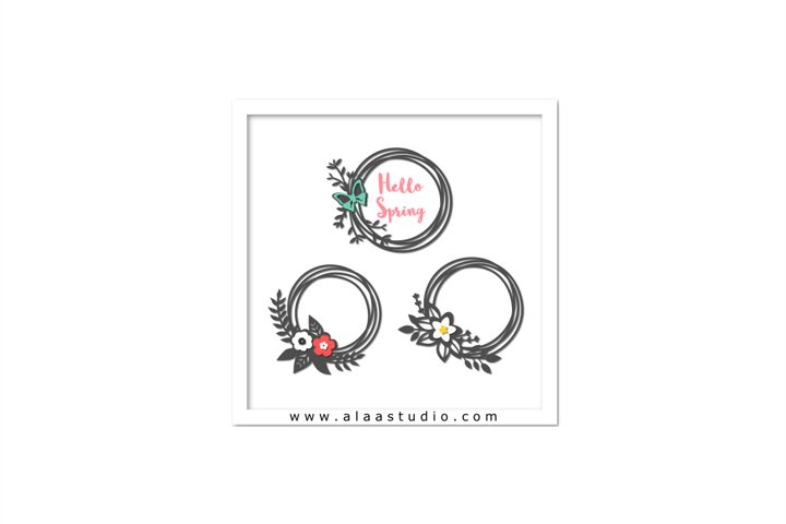 Spring flowers/ butterfly wreaths set, SVG, PDF, SILHOUETTE STUDIO Formats