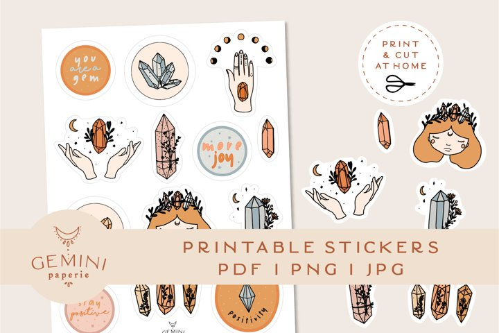 Gemstone Printable Stickers   Cricut Design Sticker Sheet
