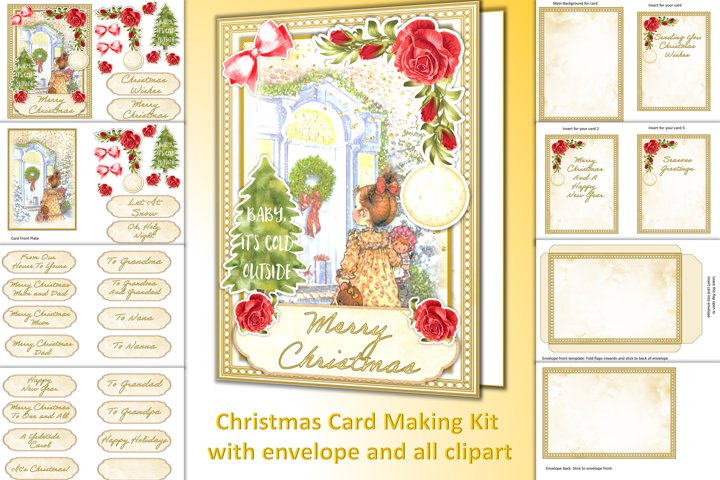 Christmas Card Kit with all clipart, envelope, decoupage etc