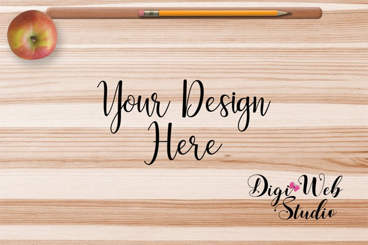 Blank Flat Lay Mockup - Student Desk w/ Apple and Pencil