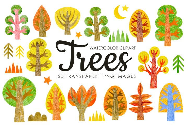 Watercolor autumn trees clipart.