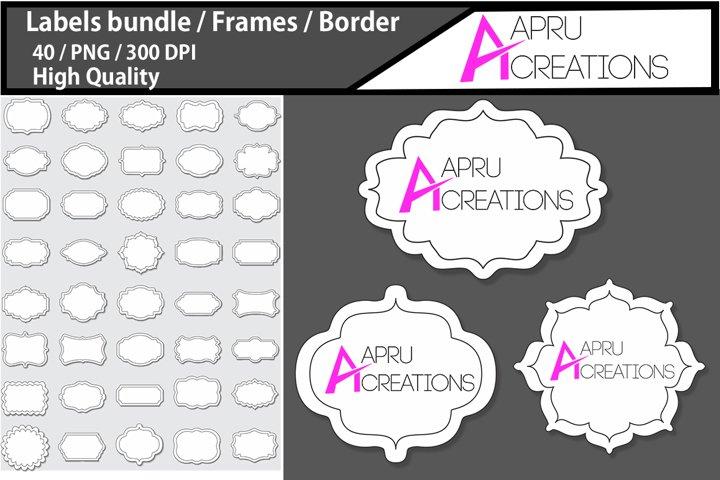 frames and Label 2 line 3D frames clipart / 40 labels