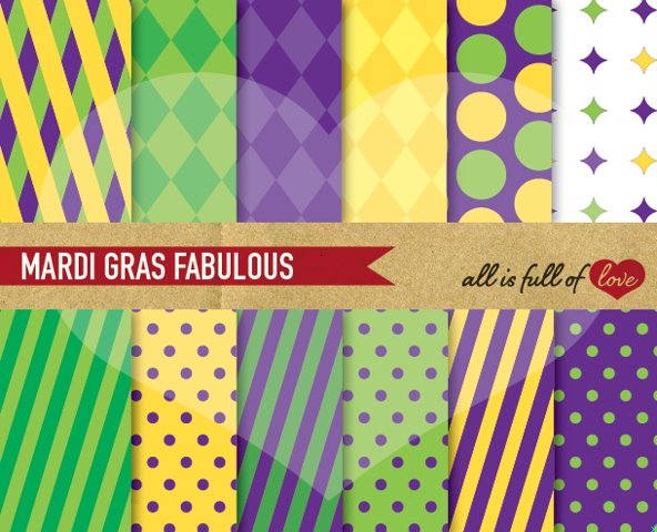 Mardi Gras Digital Paper Yellow Purple and Green Scrapbooking Background Patterns