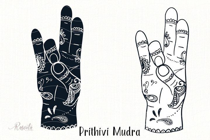 Prithivi Mudra with mehendi pattern