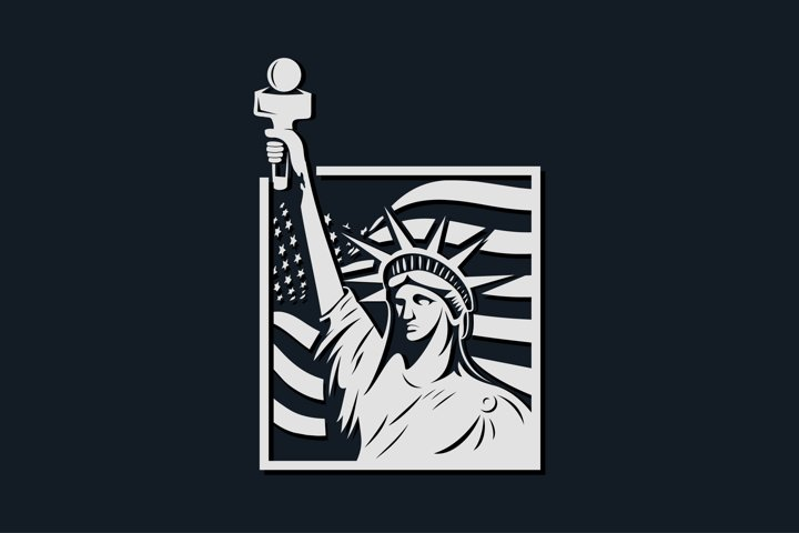 American mascot logo liberty vector illustration