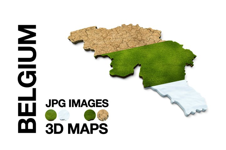 BELGIUM 3D Maps Images Dry Earth Snow Grass Terrain Sand