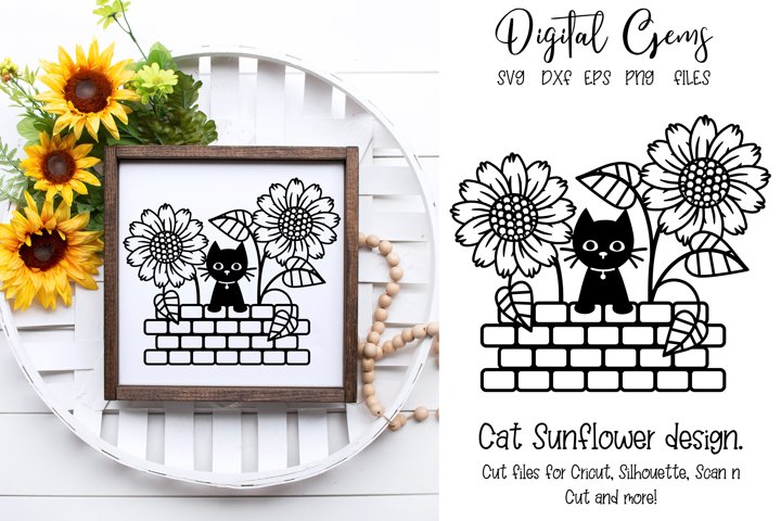 Cat Sunflower design SVG / PNG / EPS / DXF Files