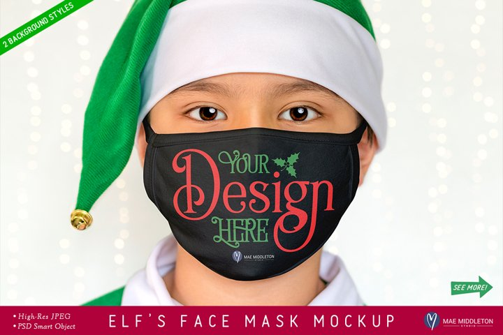 Black Face Mask Mockup, Christmas Elf | psd & jpg