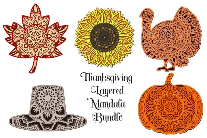 Thanksgiving Mandala SVG Bundle - 3D Layered Mandalas