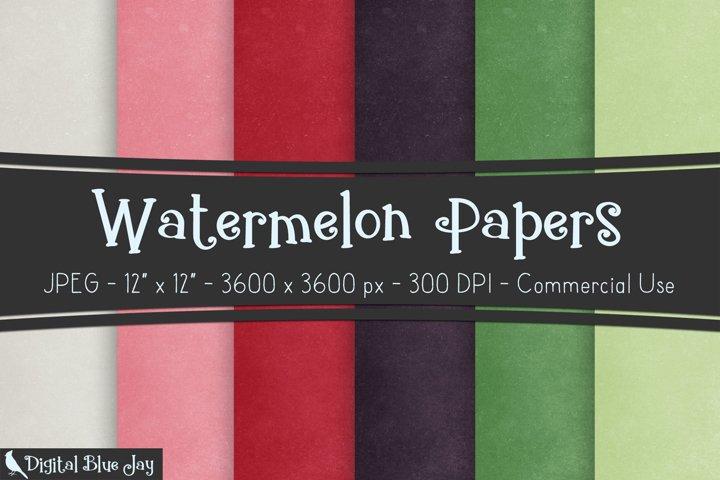 Digital Scrapbook Paper Backgrounds - Watermelon