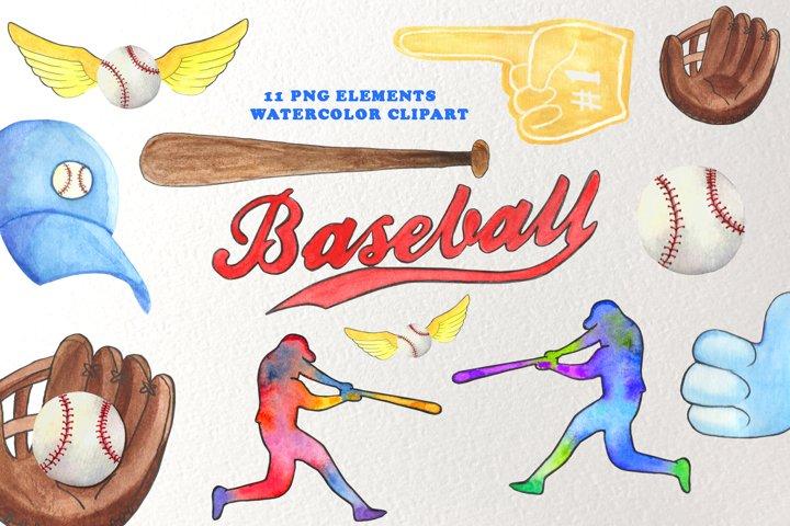 Baseball Clipart Watercolor, Sport watercolor Back to school