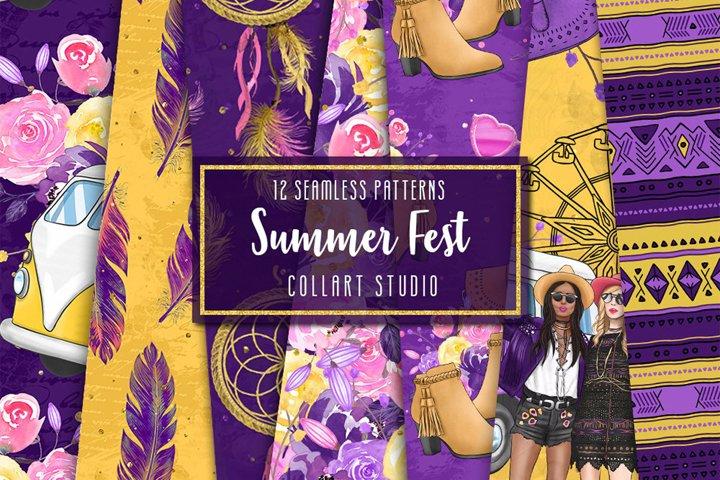 Boho digital paper, summer papers, music fest Coachella